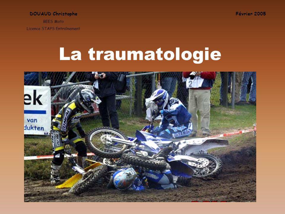DOUAUD Christophe BEES Moto Licence STAPS Entraînement Février 2005 La traumatologie