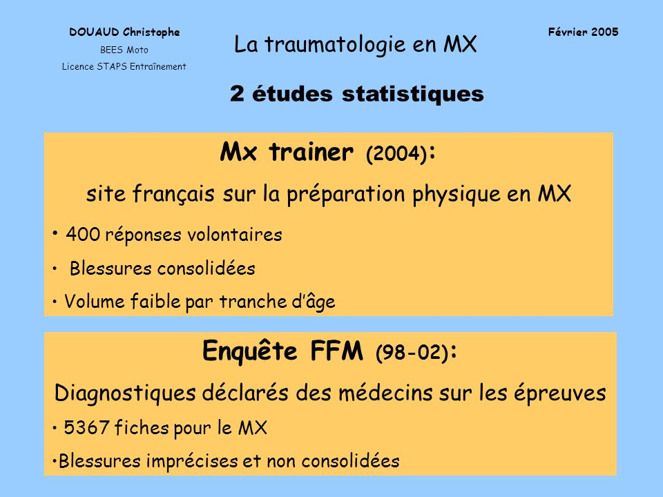 DOUAUD Christophe BEES Moto Licence STAPS Entraînement Février 2005 La traumatologie en MX 2 études statistiques Mx trainer (2004) : site français sur
