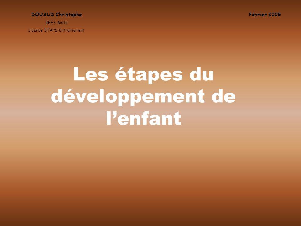 Les étapes du développement de lenfant DOUAUD Christophe BEES Moto Licence STAPS Entraînement Février 2005