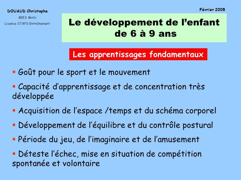 Le développement de lenfant de 6 à 9 ans DOUAUD Christophe BEES Moto Licence STAPS Entraînement Février 2005 Les apprentissages fondamentaux Goût pour