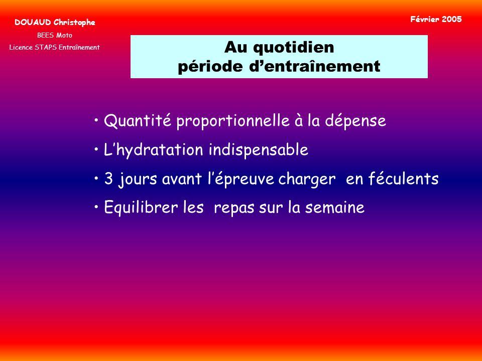 Au quotidien période dentraînement DOUAUD Christophe BEES Moto Licence STAPS Entraînement Février 2005 Quantité proportionnelle à la dépense Lhydratat