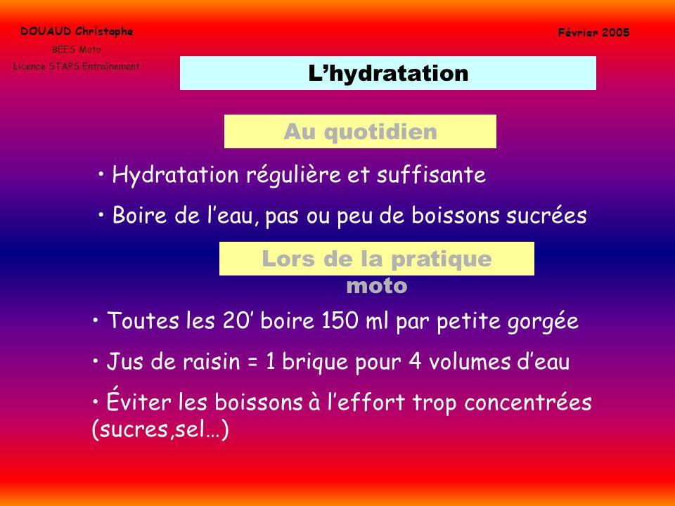 Lhydratation DOUAUD Christophe BEES Moto Licence STAPS Entraînement Février 2005 Hydratation régulière et suffisante Boire de leau, pas ou peu de bois