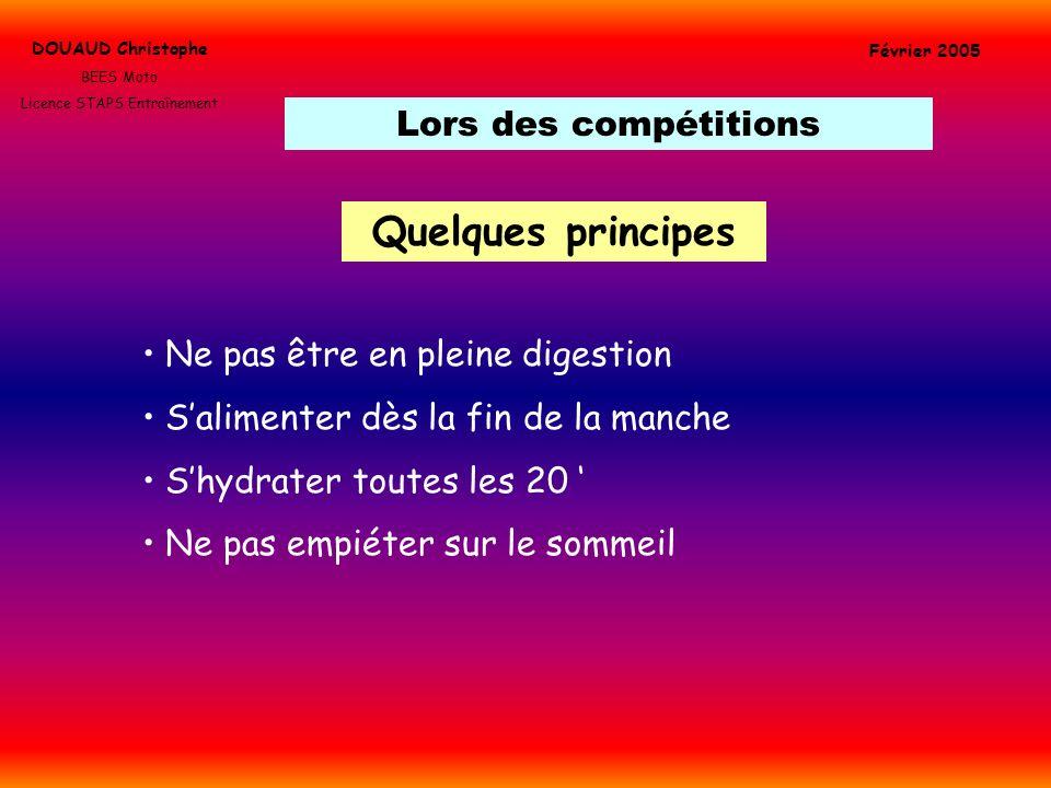 Lors des compétitions DOUAUD Christophe BEES Moto Licence STAPS Entraînement Février 2005 Quelques principes Ne pas être en pleine digestion Salimente
