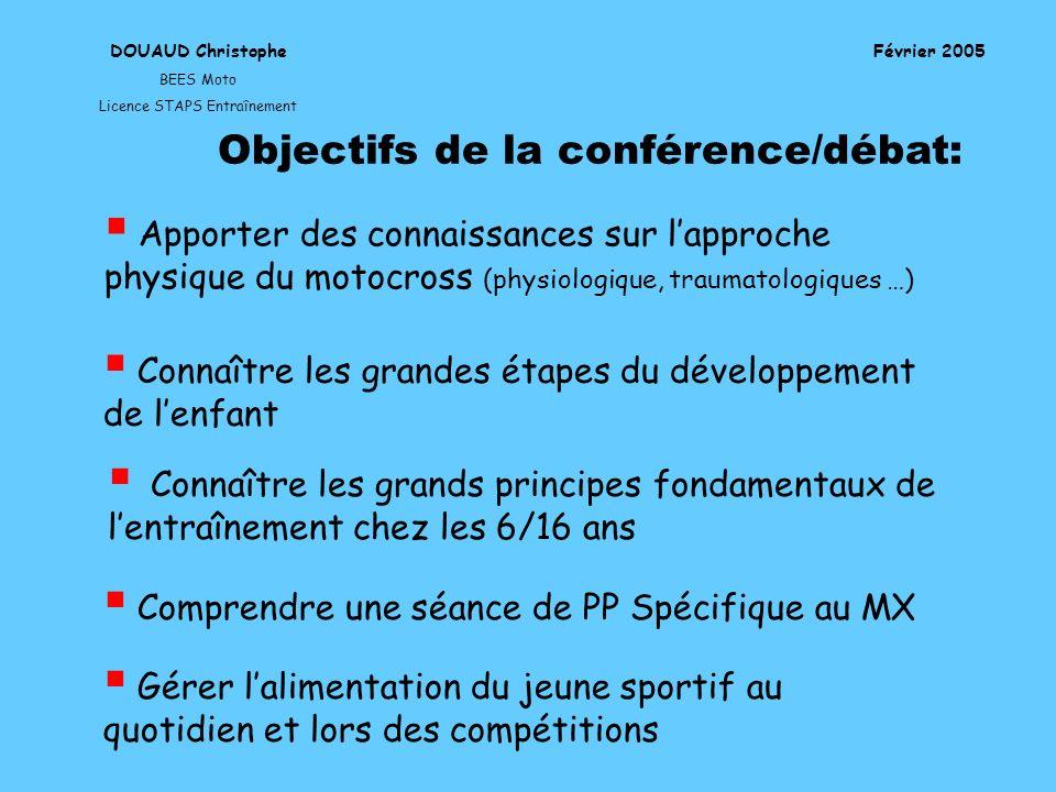 DOUAUD Christophe BEES Moto Licence STAPS Entraînement Février 2005 Objectifs de la conférence/débat: Apporter des connaissances sur lapproche physiqu