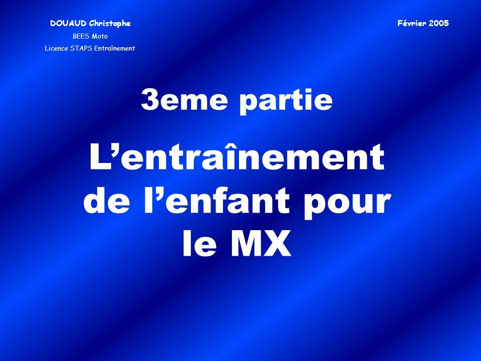 3eme partie Lentraînement de lenfant pour le MX DOUAUD Christophe BEES Moto Licence STAPS Entraînement Février 2005