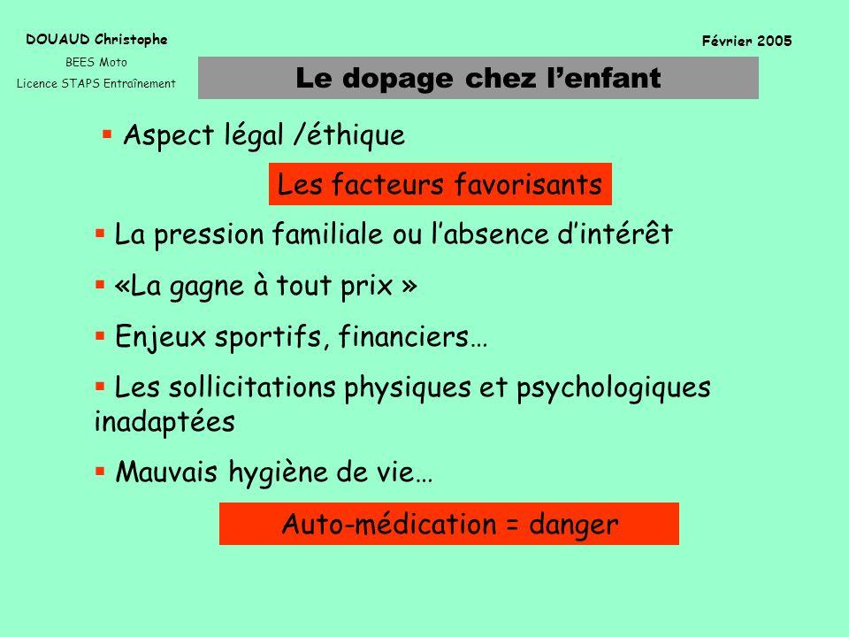 Le dopage chez lenfant DOUAUD Christophe BEES Moto Licence STAPS Entraînement Février 2005 Les facteurs favorisants Aspect légal /éthique La pression