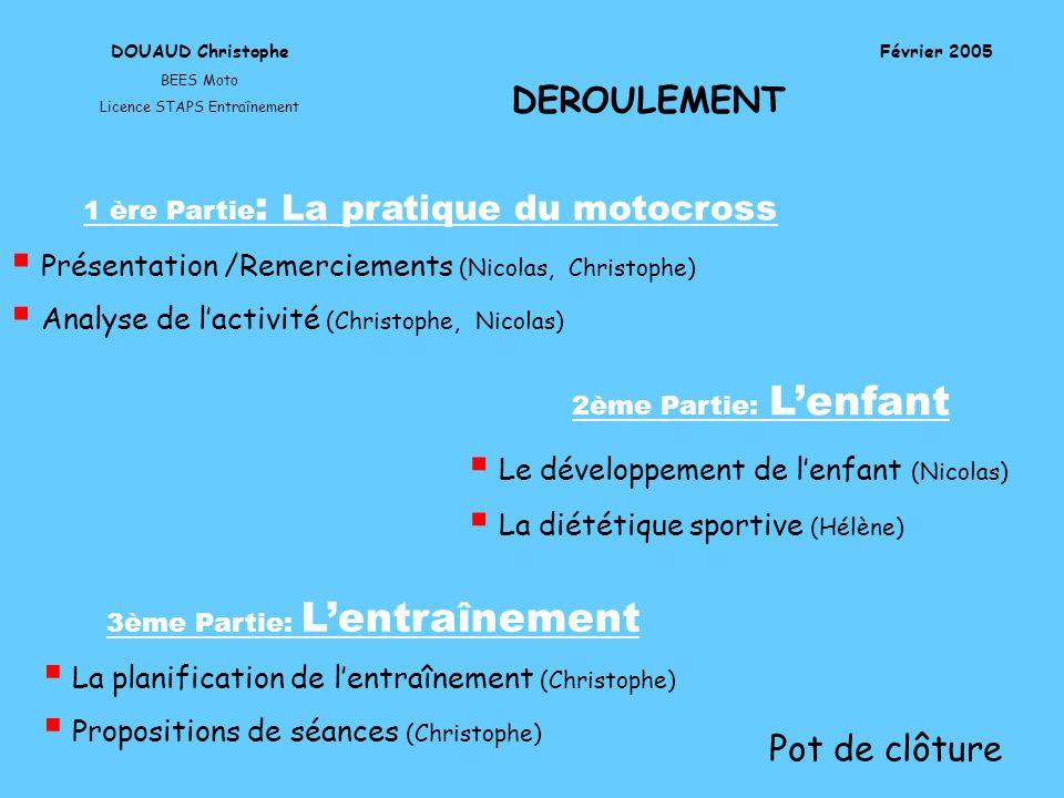 Les axes de travail en fonction de lâge DOUAUD Christophe BEES Moto Licence STAPS Entraînement Février 2005