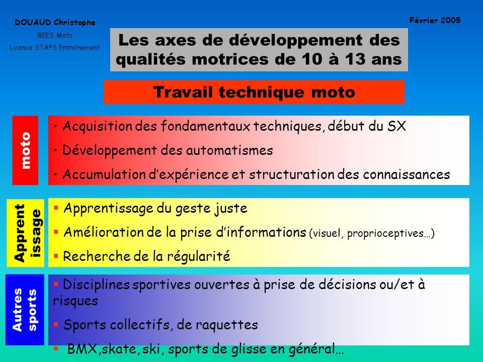 Les axes de développement des qualités motrices de 10 à 13 ans DOUAUD Christophe BEES Moto Licence STAPS Entraînement Février 2005 Travail technique m