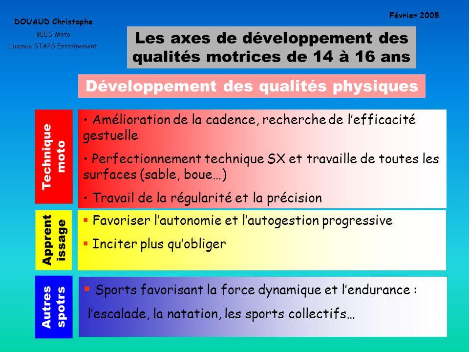 Les axes de développement des qualités motrices de 14 à 16 ans DOUAUD Christophe BEES Moto Licence STAPS Entraînement Février 2005 Développement des q