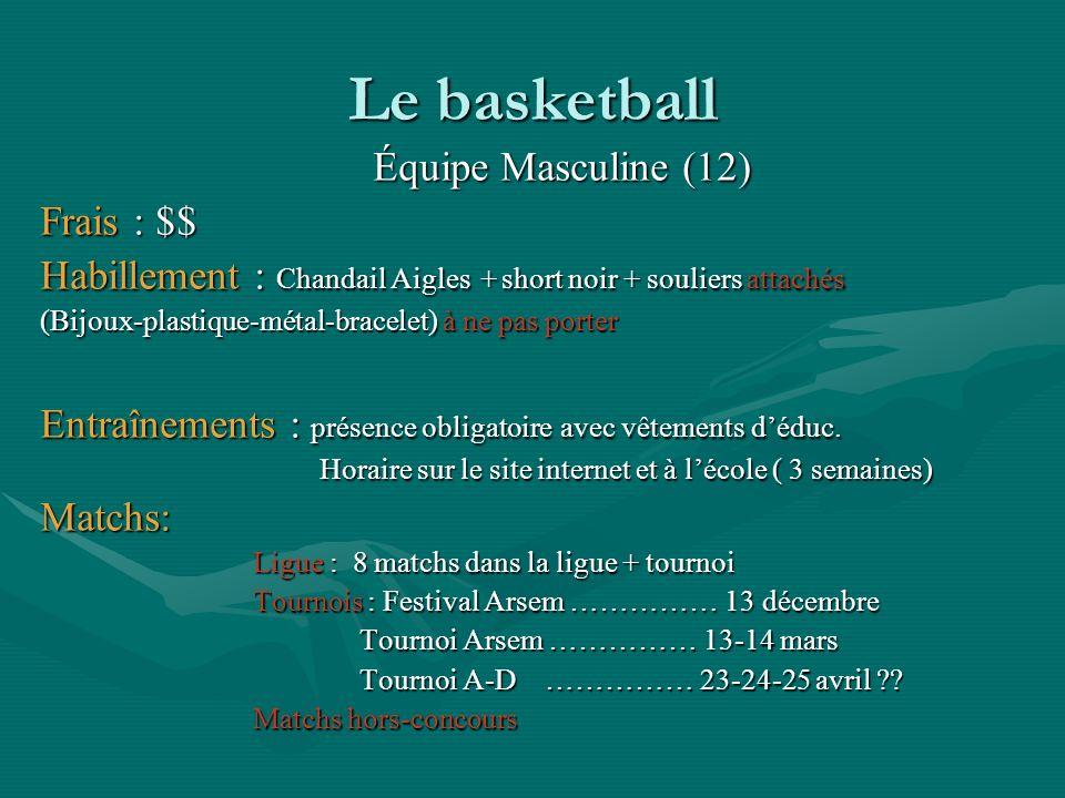 Le basketball Équipe Masculine (12) Frais : $$ Habillement : Chandail Aigles + short noir + souliers attachés (Bijoux-plastique-métal-bracelet) à ne p