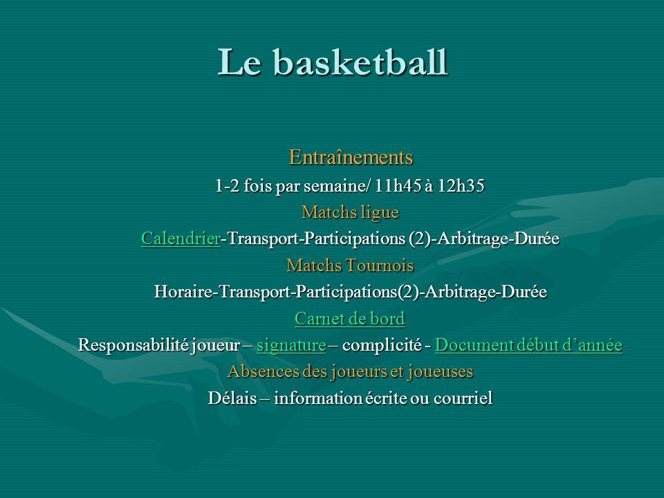 Le basketball Entraînements 1-2 fois par semaine/ 11h45 à 12h35 Matchs ligue CalendrierCalendrier-Transport-Participations (2)-Arbitrage-Durée Calendr
