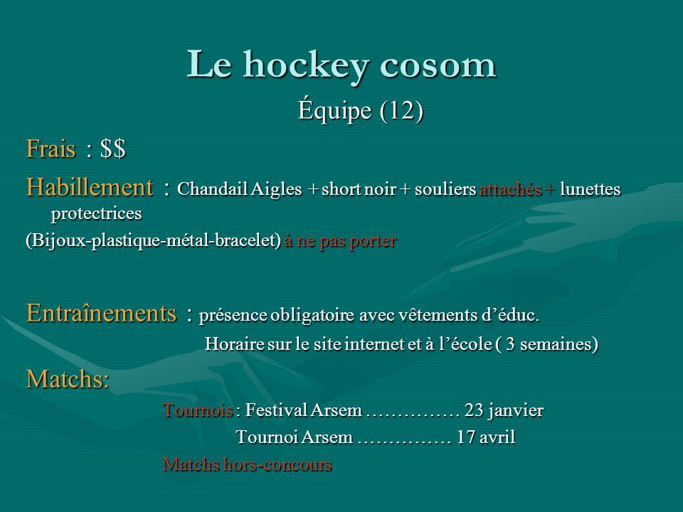 Le hockey cosom Équipe (12) Frais : $$ Habillement : Chandail Aigles + short noir + souliers attachés + lunettes protectrices (Bijoux-plastique-métal-