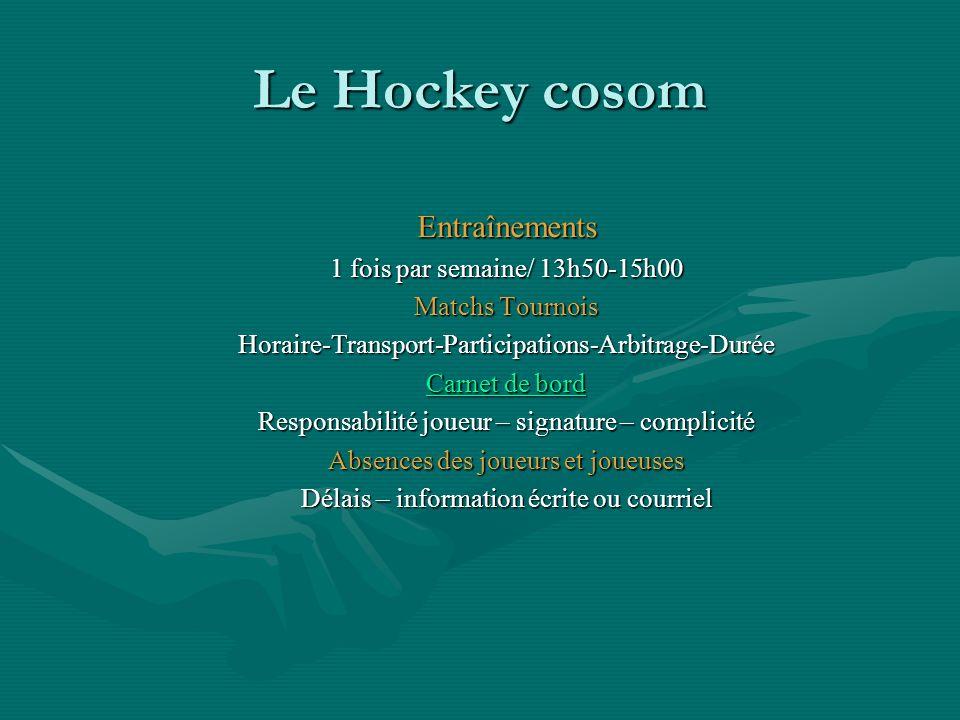 Le Hockey cosom Entraînements 1 fois par semaine/ 13h50-15h00 Matchs Tournois Horaire-Transport-Participations-Arbitrage-Durée Carnet de bord Carnet d