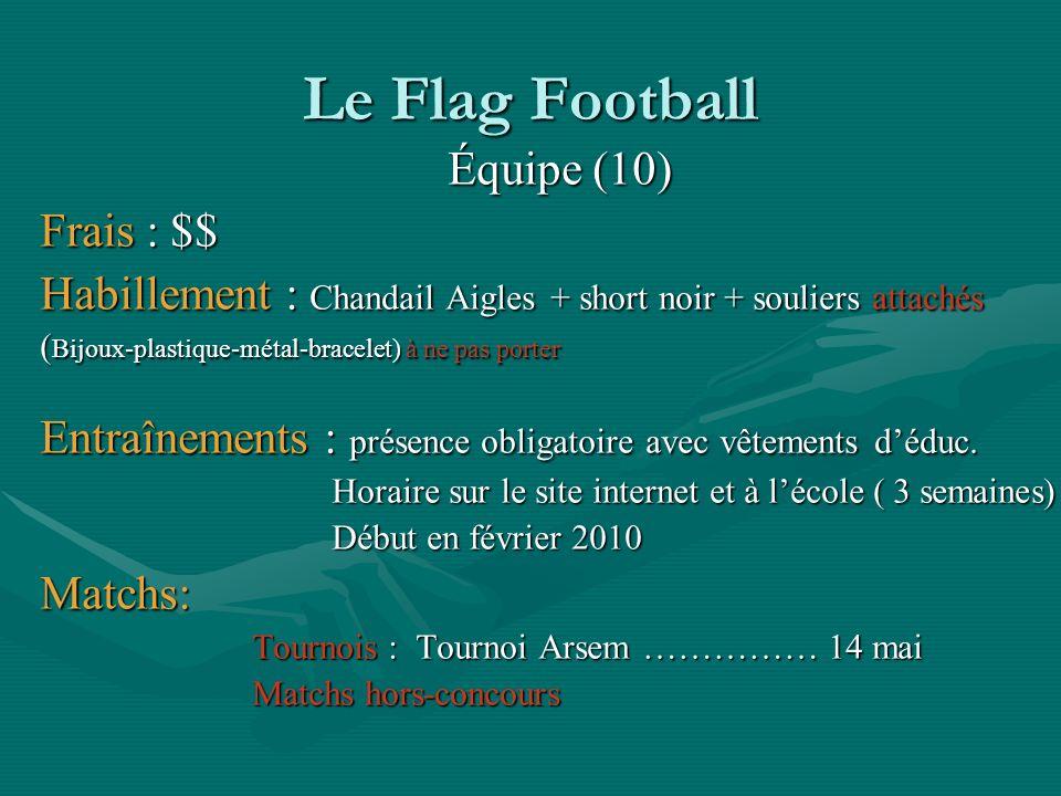 Le Flag Football Équipe (10) Frais : $$ Habillement : Chandail Aigles + short noir + souliers attachés ( Bijoux-plastique-métal-bracelet) à ne pas por