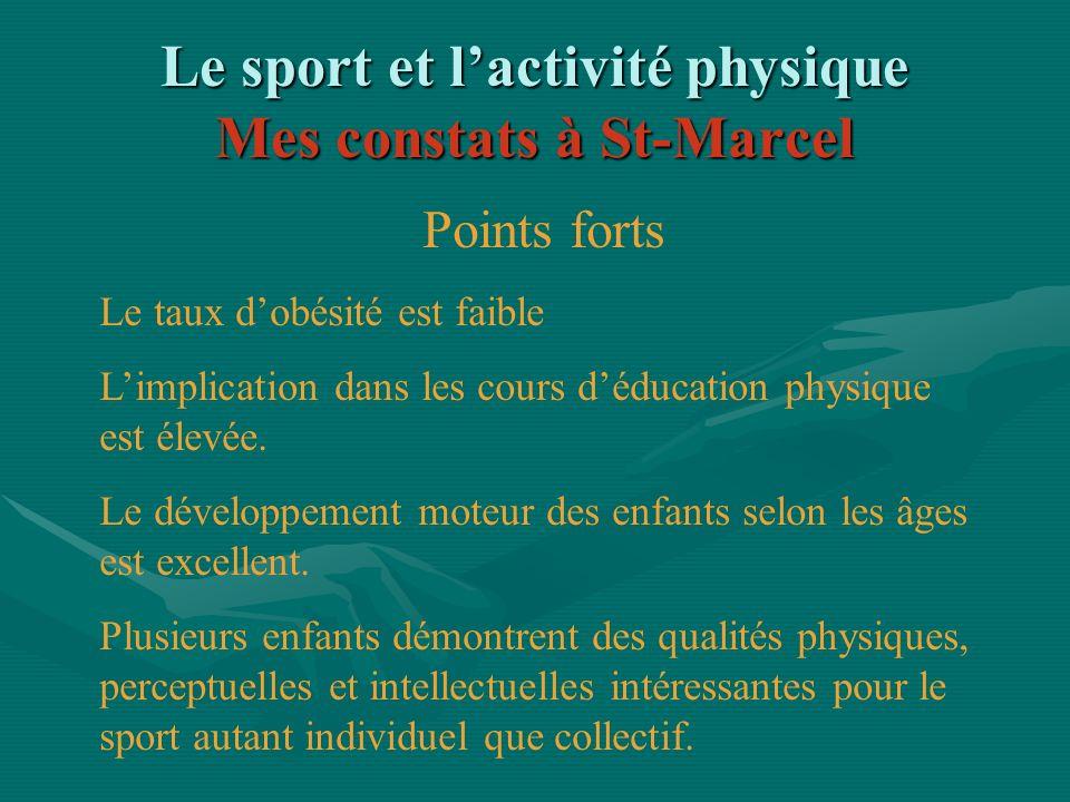 Le sport et lactivité physique Mes constats à St-Marcel Points forts Le taux dobésité est faible Limplication dans les cours déducation physique est é