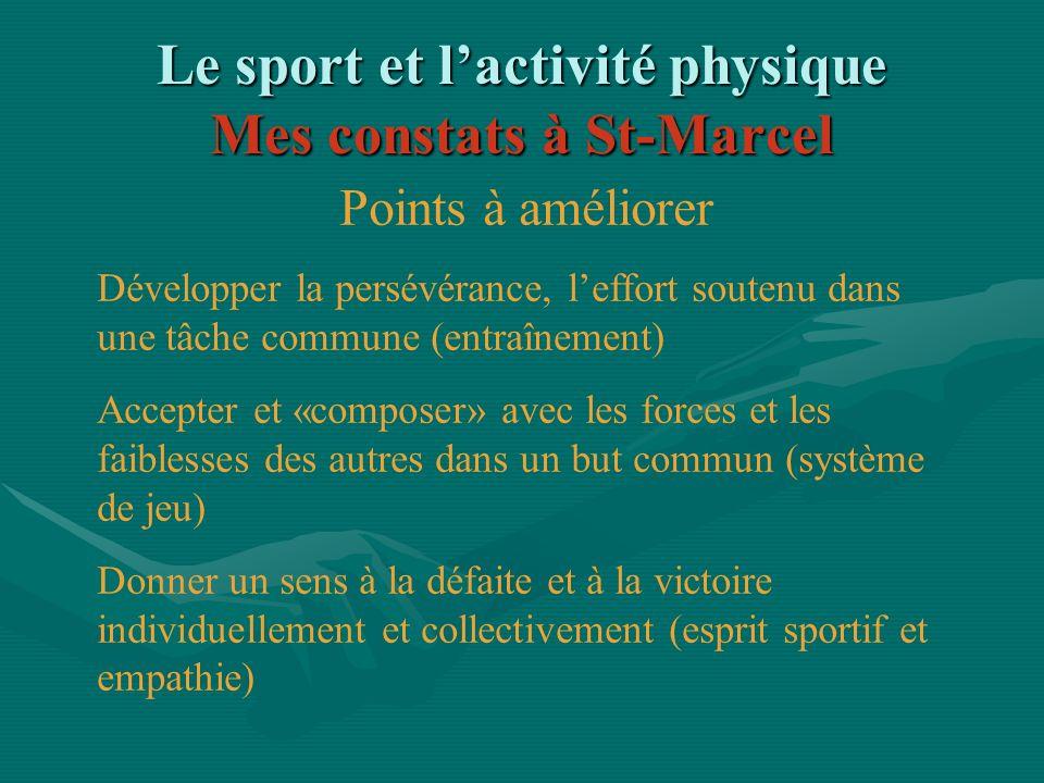 Le sport et lactivité physique Mes constats à St-Marcel Points à améliorer Développer la persévérance, leffort soutenu dans une tâche commune (entraîn