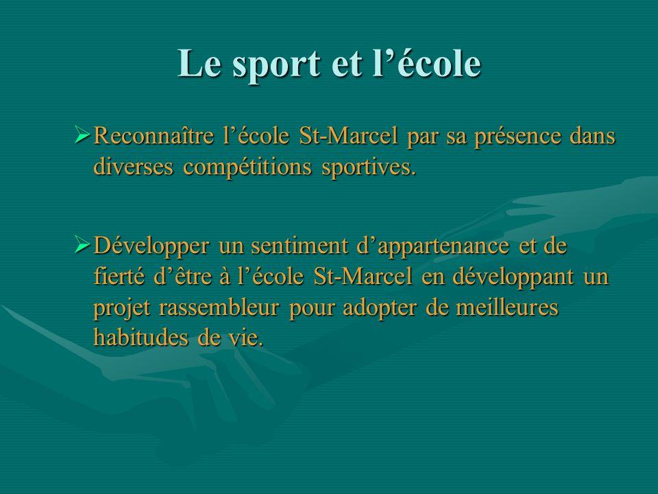 Le sport et lécole Reconnaître lécole St-Marcel par sa présence dans diverses compétitions sportives. Reconnaître lécole St-Marcel par sa présence dan