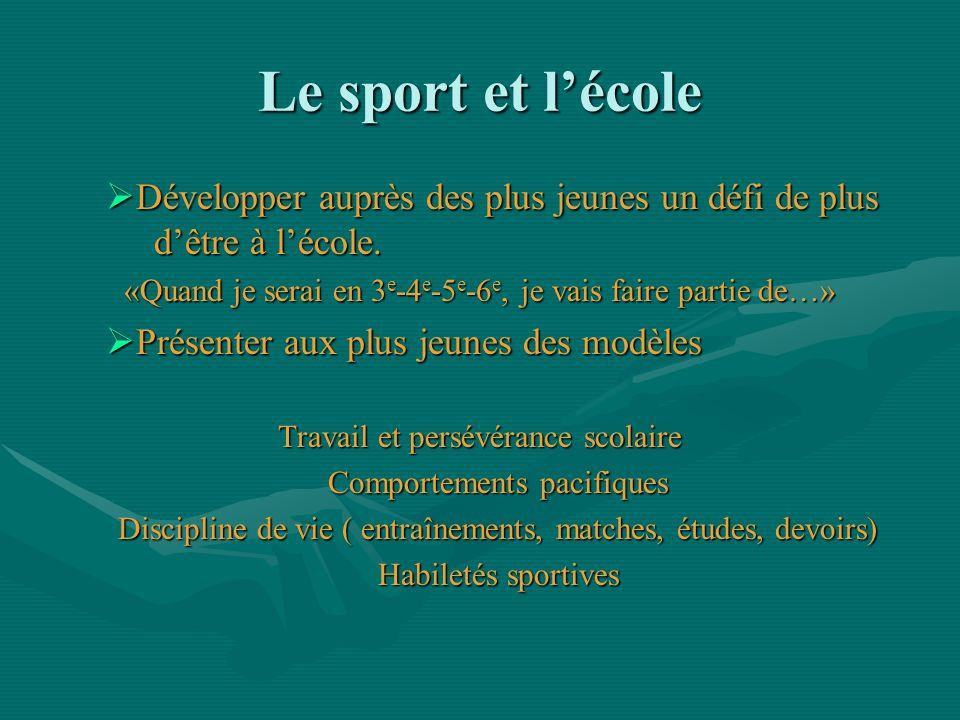 Le sport et lécole Développer auprès des plus jeunes un défi de plus dêtre à lécole. Développer auprès des plus jeunes un défi de plus dêtre à lécole.