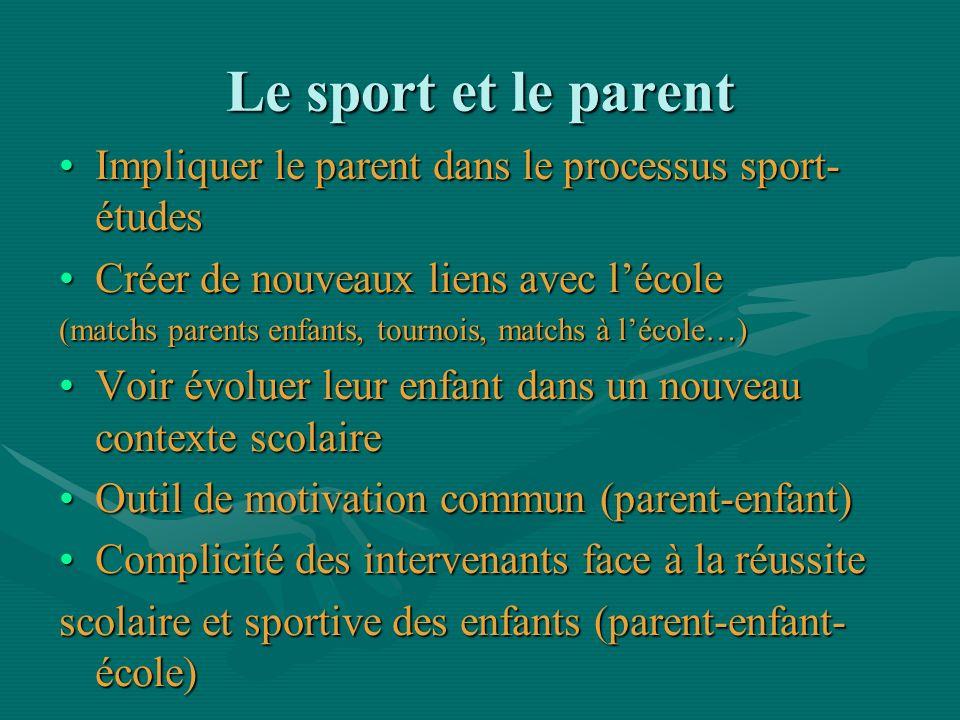 Le sport et le parent Impliquer le parent dans le processus sport- étudesImpliquer le parent dans le processus sport- études Créer de nouveaux liens a