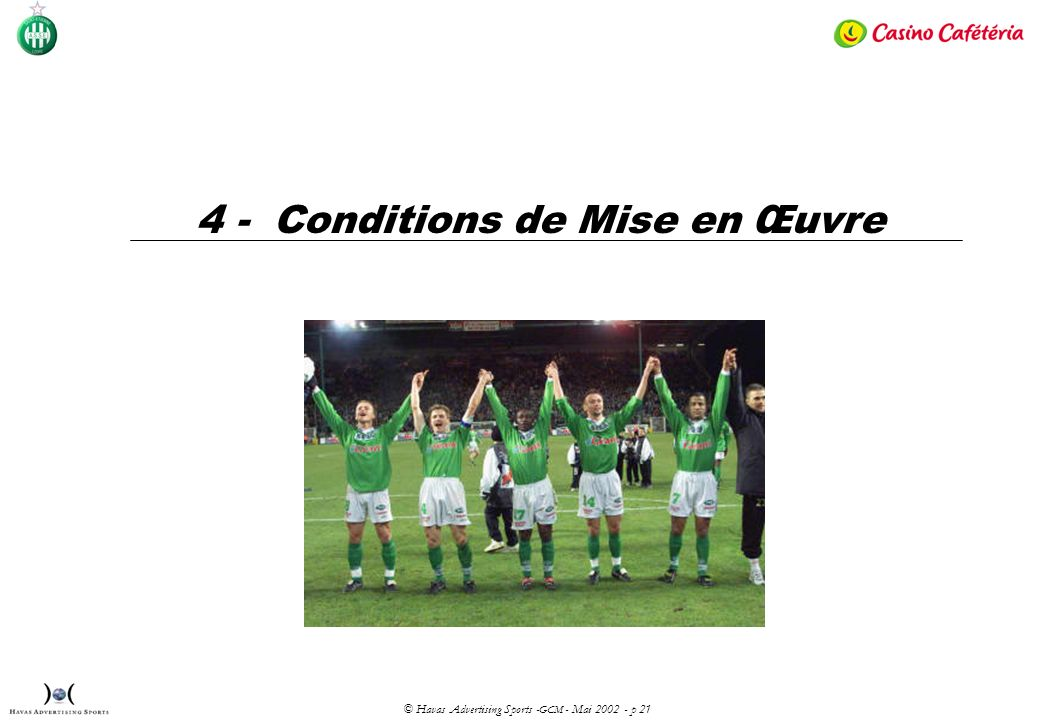 © Havas Advertising Sports - GCM - Mai 2002 - p 21 4 - Conditions de Mise en Œuvre