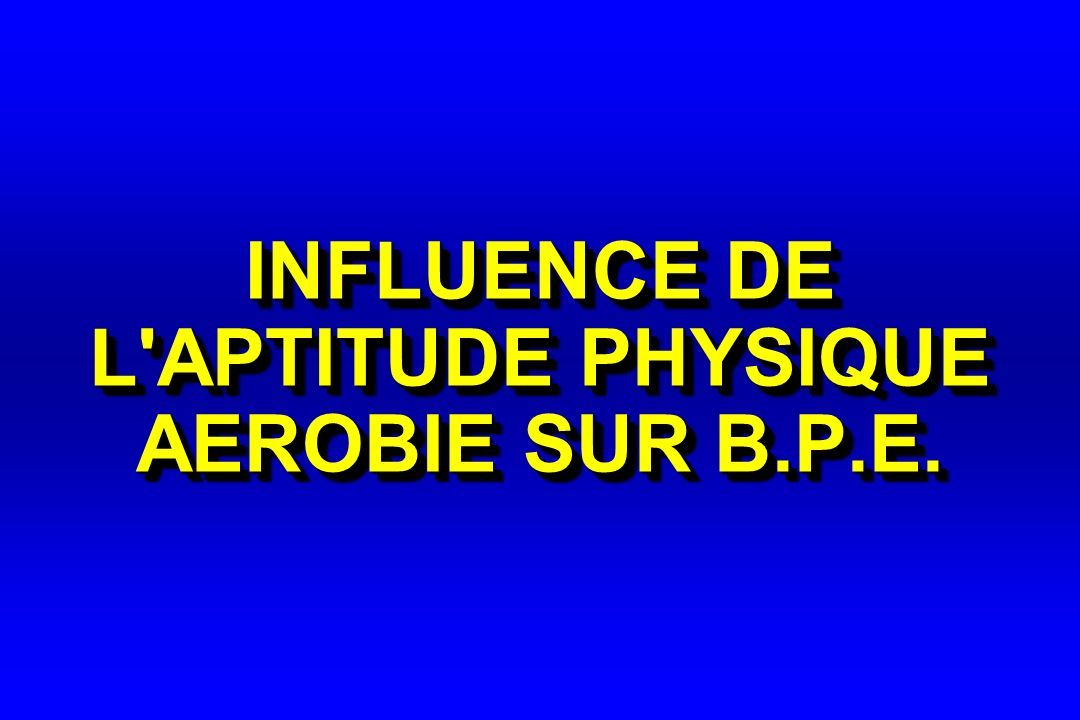 INFLUENCE DE L'APTITUDE PHYSIQUE AEROBIE SUR B.P.E.