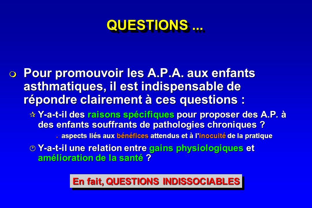 QUESTIONS... Pour promouvoir les A.P.A. aux enfants asthmatiques, il est indispensable de répondre clairement à ces questions : Pour promouvoir les A.