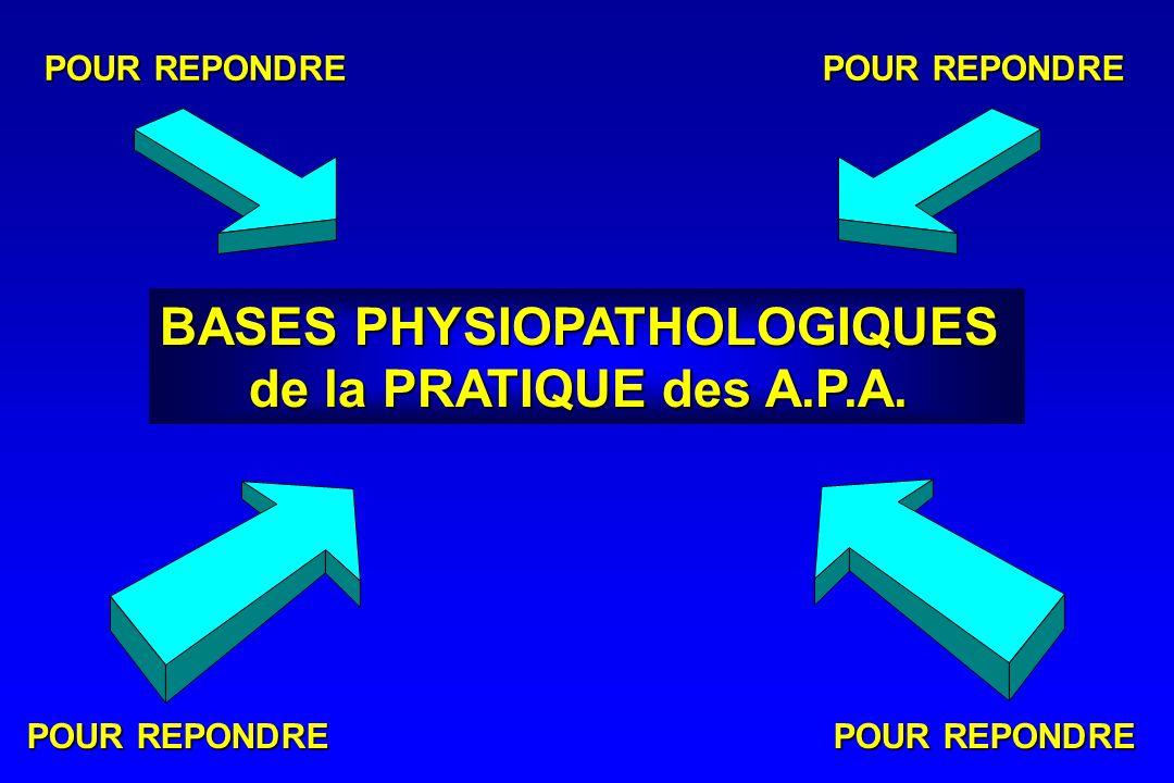 BASES PHYSIOPATHOLOGIQUES de la PRATIQUE des A.P.A. POUR REPONDRE