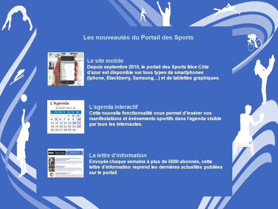 Les nouveautés du Portail des Sports Le site mobile Depuis septembre 2010, le portail des Sports Nice Côte dazur est disponible sur tous types de smartphones (Iphone, Blackberry, Samsung…) et de tablettes graphiques.