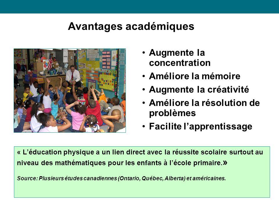 Avantages académiques « Léducation physique a un lien direct avec la réussite scolaire surtout au niveau des mathématiques pour les enfants à lécole primaire.