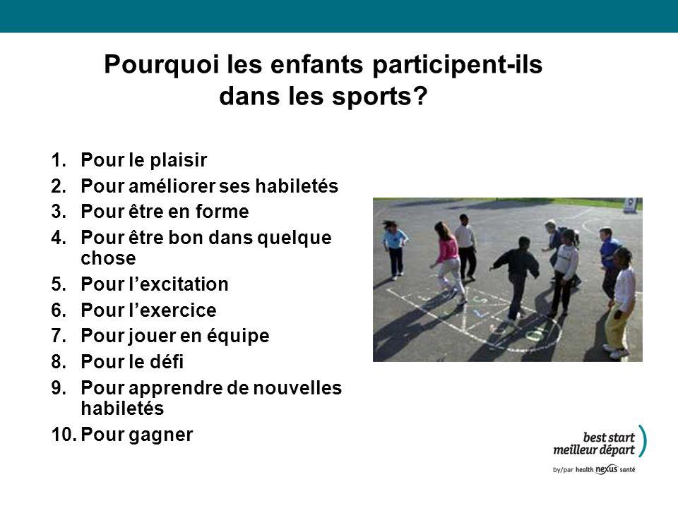Pourquoi les enfants participent-ils dans les sports.