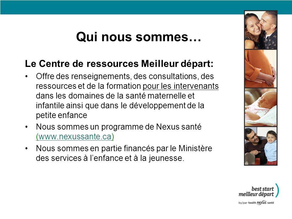 Quelques uns des services du Centre de ressources Meilleur départ Bulletin MNCHP et bulletin francophone Ressources –Développement de la petite enfance –Santé environnementale –Nutrition –Troubles de lhumeur post-partum –Santé reproductive, etc.