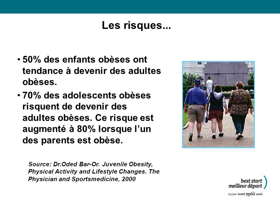 Les risques...50% des enfants obèses ont tendance à devenir des adultes obèses.