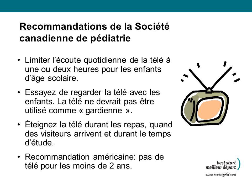 Recommandations de la Société canadienne de pédiatrie Limiter lécoute quotidienne de la télé à une ou deux heures pour les enfants dâge scolaire.