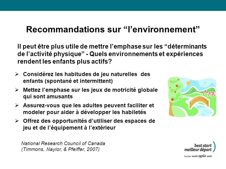 Recommandations sur lenvironnement Il peut être plus utile de mettre lemphase sur les déterminants de lactivité physique - Quels environnements et expériences rendent les enfants plus actifs.
