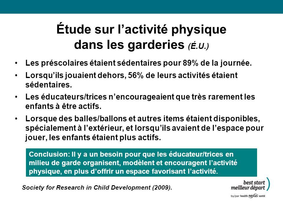 Étude sur lactivité physique dans les garderies (É.U.) Les préscolaires étaient sédentaires pour 89% de la journée.