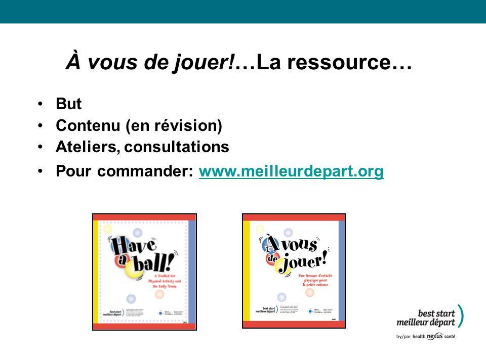 À vous de jouer!…La ressource… But Contenu (en révision) Ateliers, consultations Pour commander: www.meilleurdepart.orgwww.meilleurdepart.org