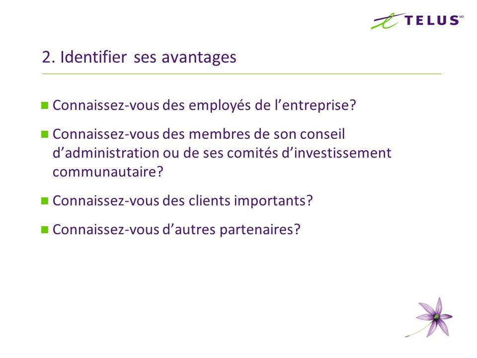2. Identifier ses avantages Connaissez-vous des employés de lentreprise? Connaissez-vous des membres de son conseil dadministration ou de ses comités