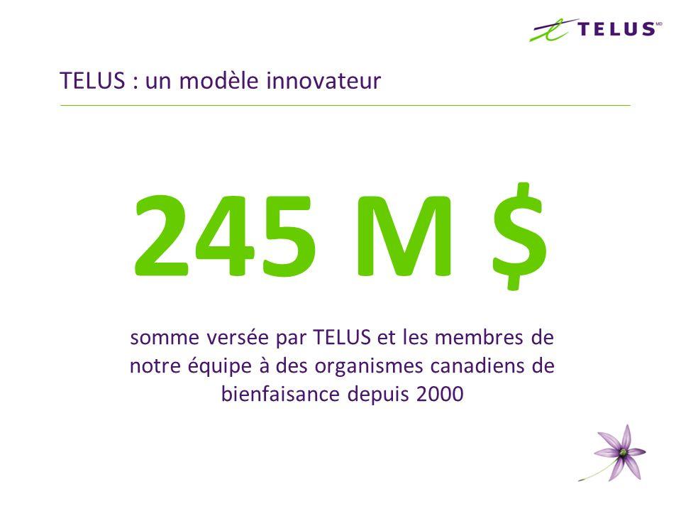 35 M $ somme versée par TELUS et les membres de notre équipe à des organismes canadiens de bienfaisance en 2010 TELUS : un modèle innovateur