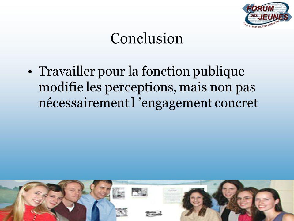 Conclusion Travailler pour la fonction publique modifie les perceptions, mais non pas nécessairement l engagement concret