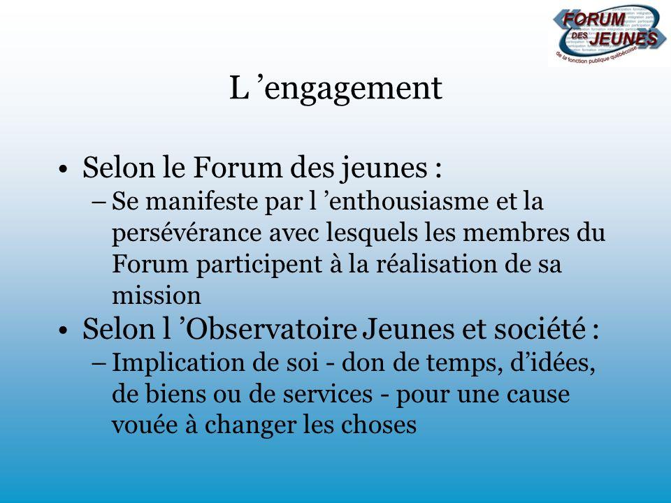 L engagement Selon le Forum des jeunes : –Se manifeste par l enthousiasme et la persévérance avec lesquels les membres du Forum participent à la réali