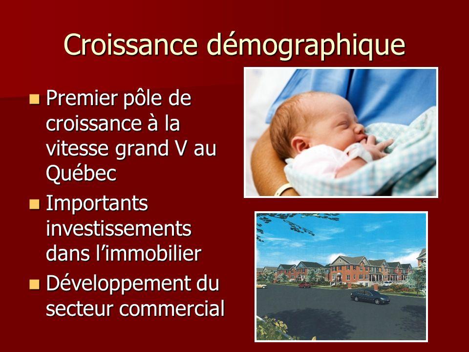 Croissance démographique Premier pôle de croissance à la vitesse grand V au Québec Premier pôle de croissance à la vitesse grand V au Québec Important
