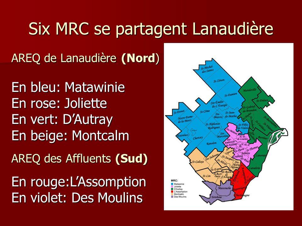 Six MRC se partagent Lanaudière AREQ de Lanaudière (Nord) En bleu: Matawinie En rose: Joliette En vert: DAutray En beige: Montcalm AREQ des Affluents