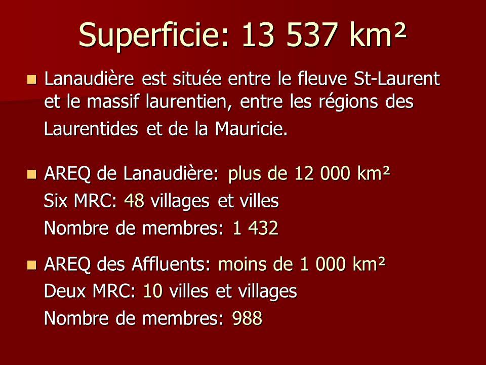 Superficie: 13 537 km² Lanaudière est située entre le fleuve St-Laurent et le massif laurentien, entre les régions des Lanaudière est située entre le