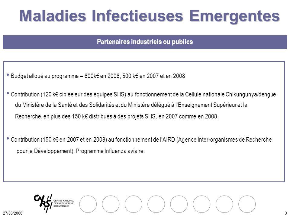 27/06/20083 Budget alloué au programme = 600k en 2006, 500 k en 2007 et en 2008 Contribution (120 k ciblée sur des équipes SHS) au fonctionnement de la Cellule nationale Chikungunya/dengue du Ministère de la Santé et des Solidarités et du Ministère délégué à lEnseignement Supérieur et la Recherche, en plus des 150 k distribués à des projets SHS, en 2007 comme en 2008.