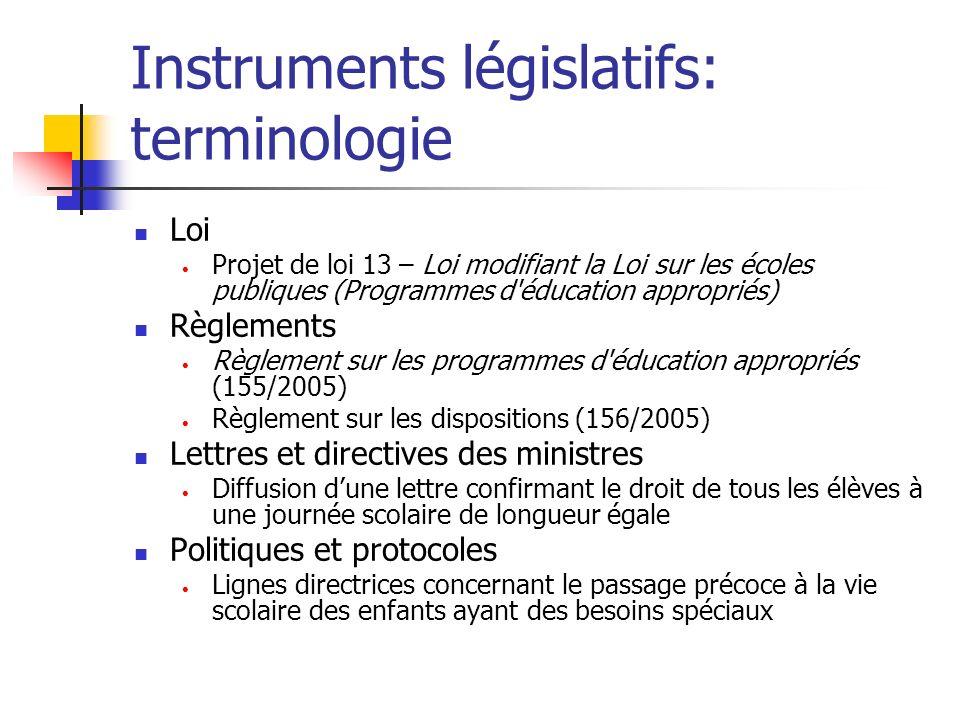 Instruments législatifs: terminologie Loi Projet de loi 13 – Loi modifiant la Loi sur les écoles publiques (Programmes d'éducation appropriés) Règleme