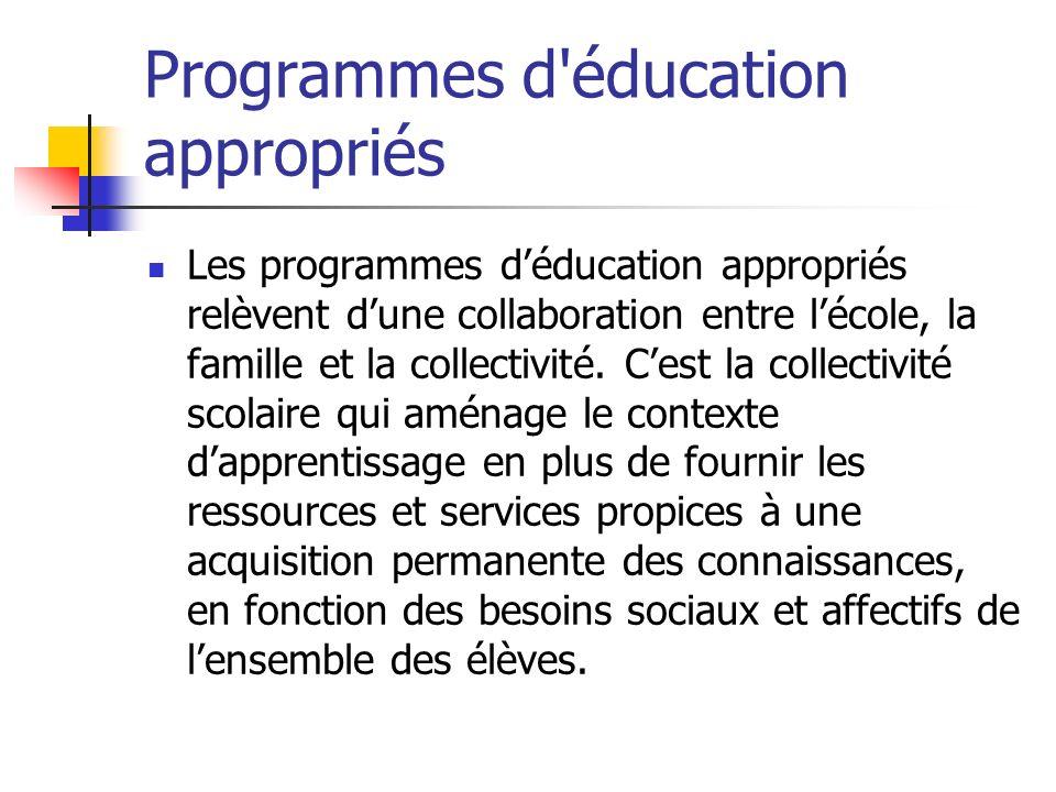 Programmes d'éducation appropriés Les programmes déducation appropriés relèvent dune collaboration entre lécole, la famille et la collectivité. Cest l