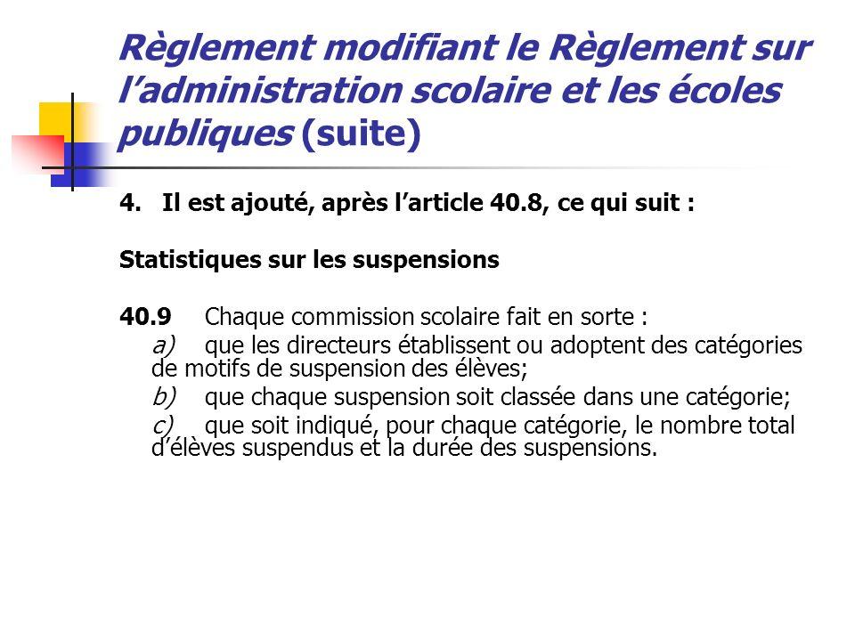 Règlement modifiant le Règlement sur ladministration scolaire et les écoles publiques (suite) 4.Il est ajouté, après larticle 40.8, ce qui suit : Stat