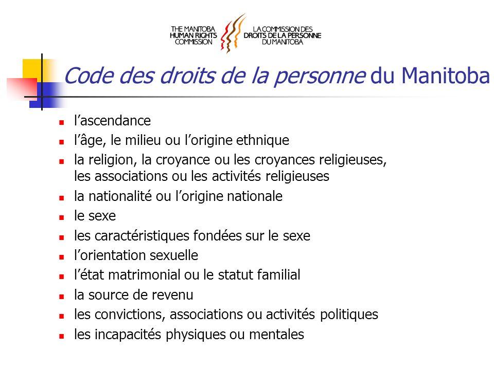 Code des droits de la personne du Manitoba lascendance lâge, le milieu ou lorigine ethnique la religion, la croyance ou les croyances religieuses, les