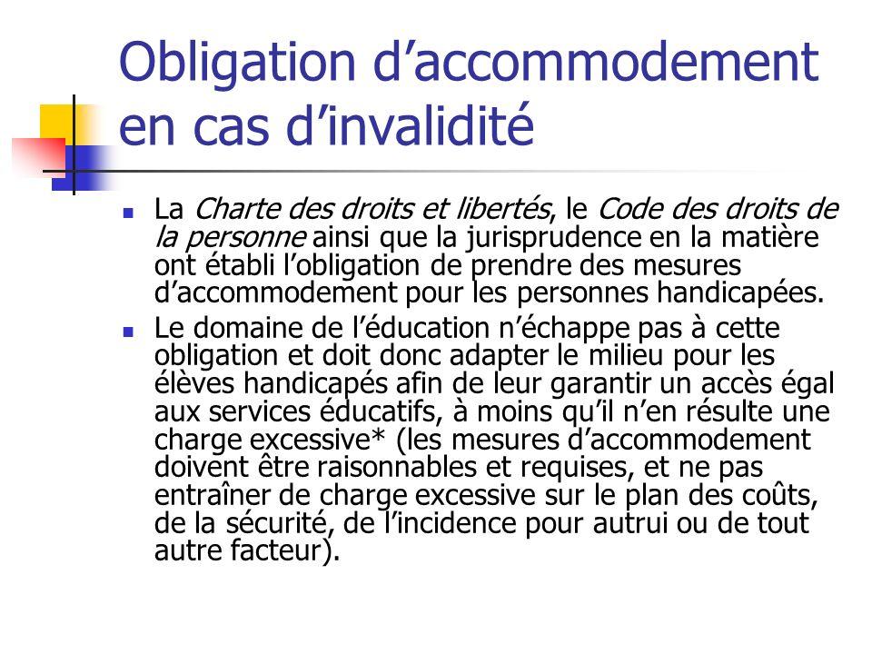 Obligation daccommodement en cas dinvalidité La Charte des droits et libertés, le Code des droits de la personne ainsi que la jurisprudence en la mati