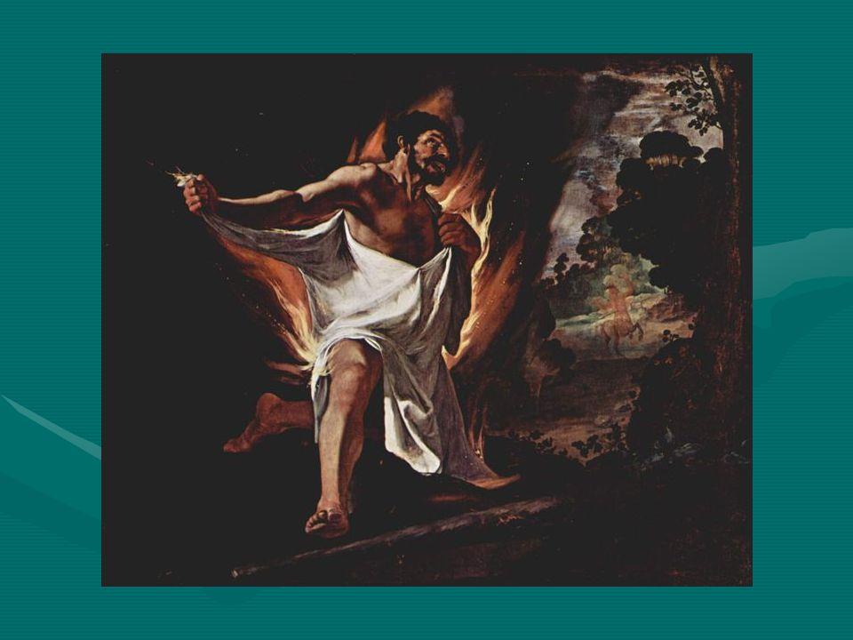 Au terme dultimes souffrances, allant toujours plus haut, il sacrifie son propre corps dans une immolation héroïque… παραγενμενος ες Οτην ρος (στι δ τοτο Τραχινων), κε πυρν ποισας κλευσεν πιβς φπτειν.